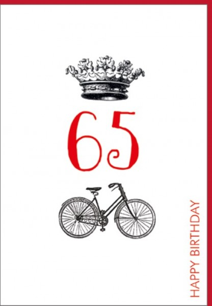 Umschlagk. Happy Birthday Krone 65