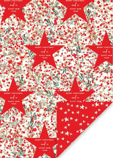 Geschenkpapier Rote Sterne glänzend
