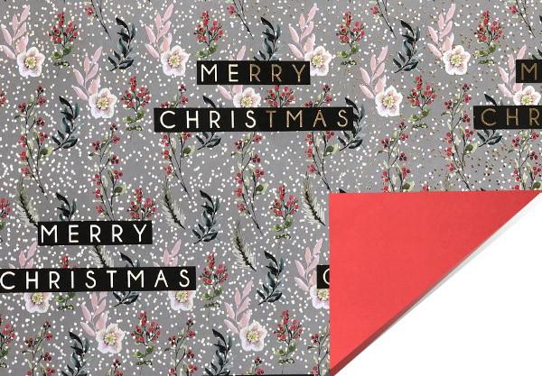 Geschenkpapier Merry Christmas hellgrau mit gold