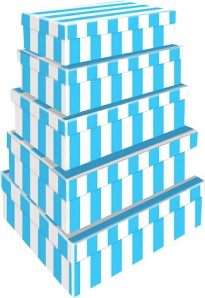 Rechteck Blockstreifen blau 5tlg. groß