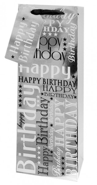 Silber Happy Birthday Bag small(Flasche)