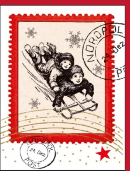 Minik. Schlitten Briefmarke