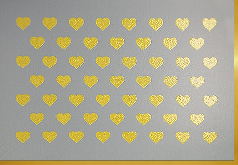 Umschlagk. Herzen gold grau