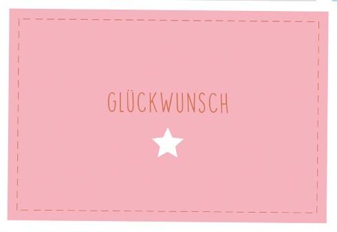 Umschlagk. Glückwunsch Stern rosa