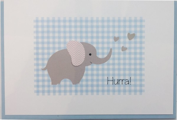 Umschlagk. Vichy Elefant blau