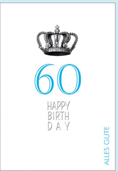 Umschlagk. Happy Birthday Krone 60