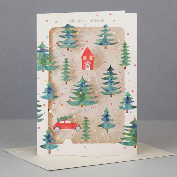 Umschlagk. Weihnachtslandschaft gestanzt