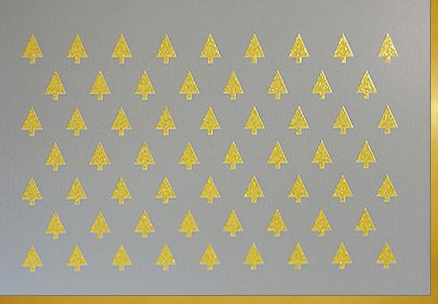 Umschlagk. Tannenbäume Gold grau
