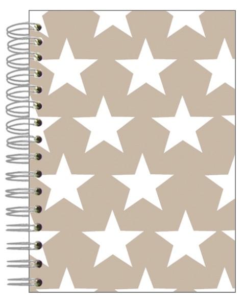 Buch A5 Sterne weiß-beige