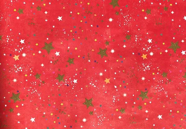 Geschenkpapier Sternchen auf rot mit Glitzer