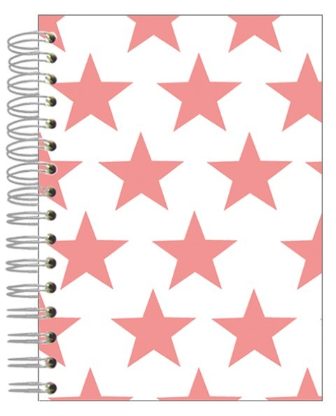 Buch A5 Sterne pink-weiß