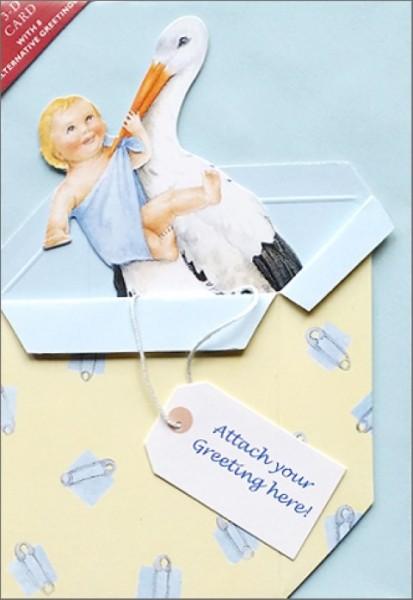 Umschlagk. Storchenbaby blau