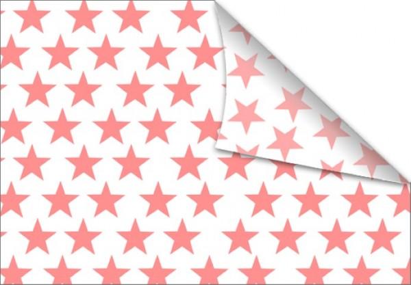 Sterne korall-weiß 50x70