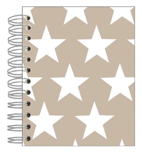 Buch 12x15 Sterne weiß-beige