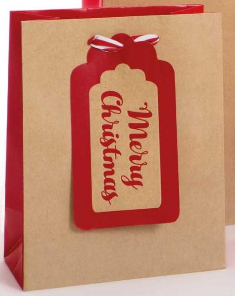 Merry Christmas Kraft rot Bag medium