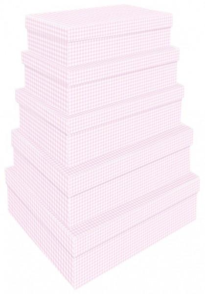 Rechteck Vichy Karo rosa 5tlg. groß