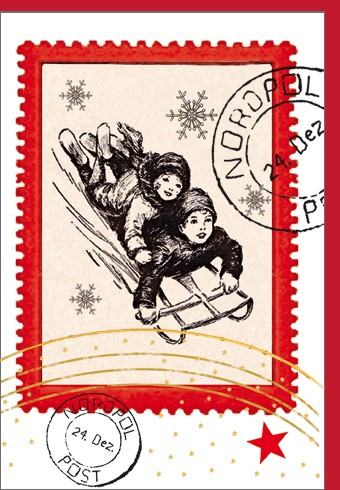 Umschlagk. Schlitten Briefmarke