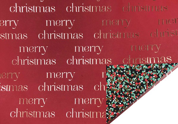 Geschenkpapier Merry Christmas Schrift auf rot