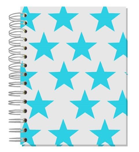 Buch A5 Sterne Türkis grau