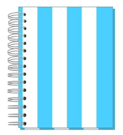 Buch A5 Streifen hellblau