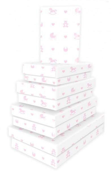 Kart. Rechteck Baby Icons rosa 5tlg.