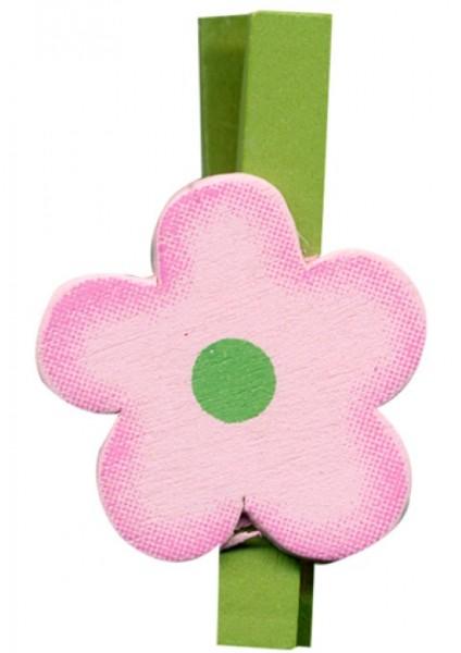 Klammer Blüte rosa 4,5cm 8 x 6 Stück