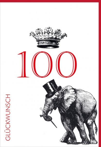 Umschlagk. Happy Birthday Krone 100