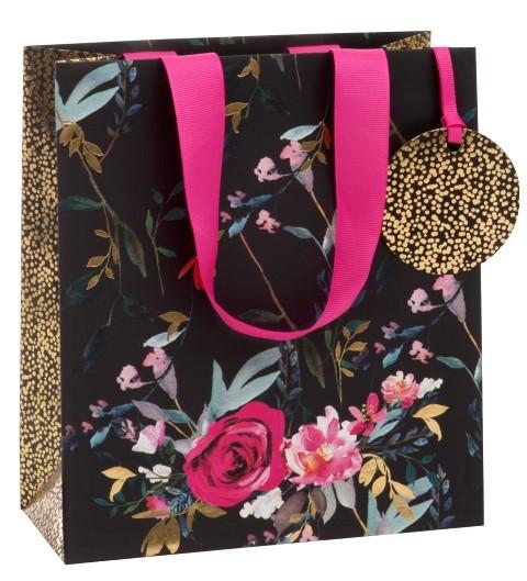 Schwarz - Gold mit Rosen Bag medium