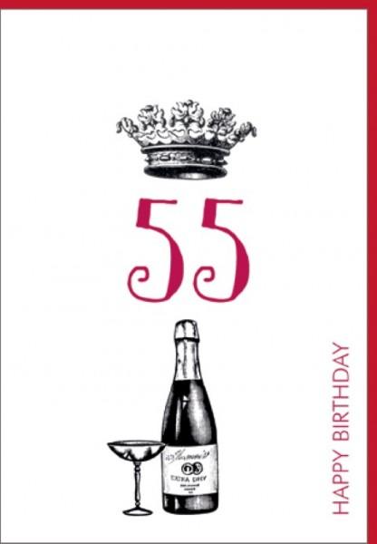 Umschlagk. Happy Birthday Krone 55
