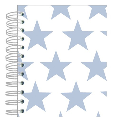 Buch 12x15 Sterne hellblau-weiß