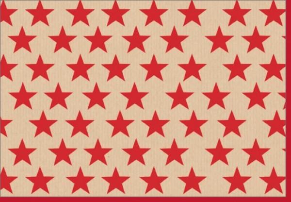 Umschlagk.rote Sterne auf Packpapier