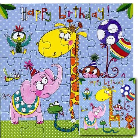 Umschlagk. Puzzle Birthday Animals
