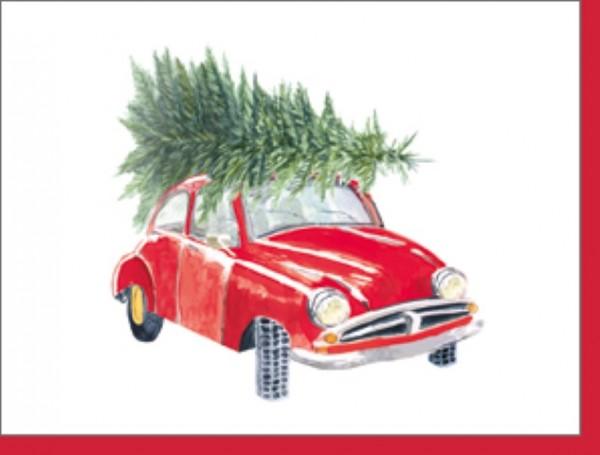 Minik. Auto mit Weihnachtsbaum