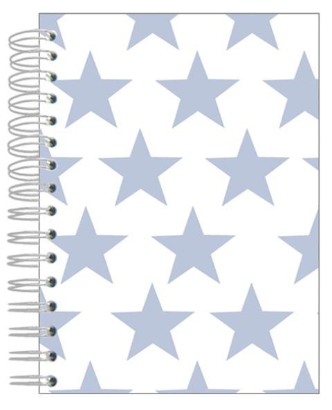 Buch A5 Sterne hellblau-weiß