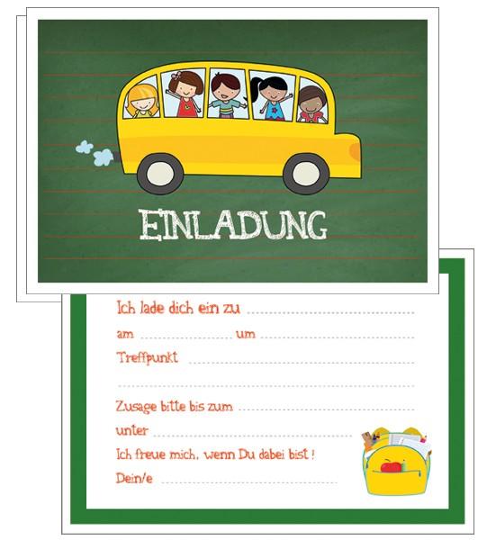 Einladungskarten Schulbus 5x5