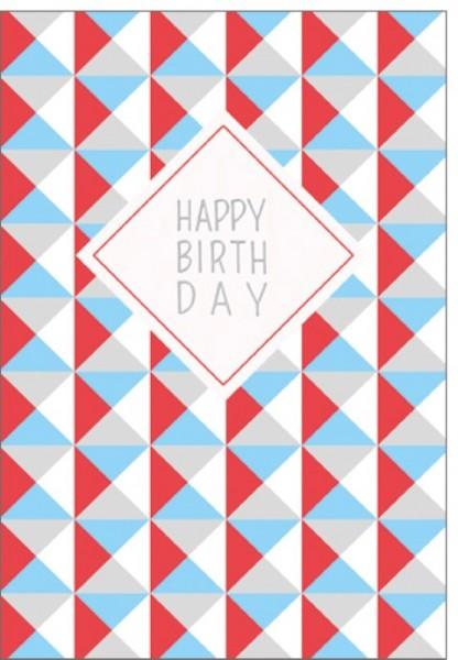 Umschlagk. Dreiecke Happy Birthday