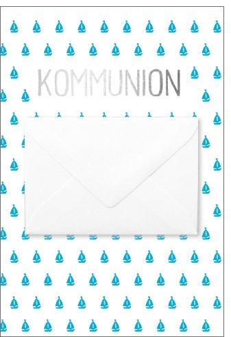 Umschlagk. NP Kommunion blaue Bötchen