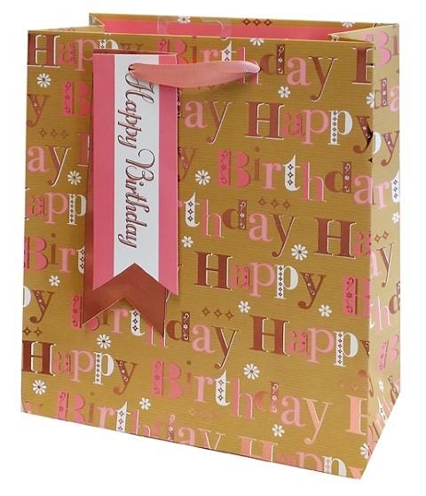 Pink Happy Birthday Bag Medium