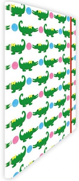 Eckspannmappe Krokodil pink-blau