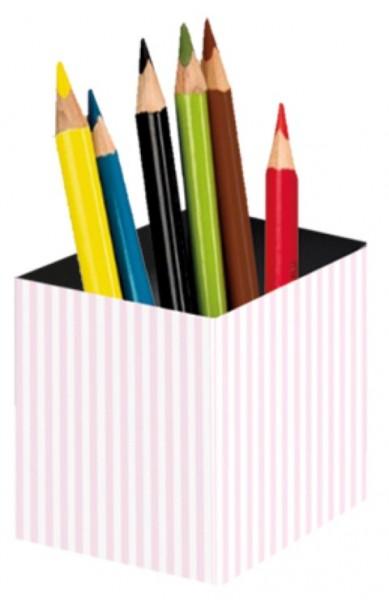 Stifteköcher Streifen rosa