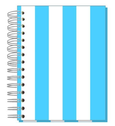 Buch 12x15 Streifen hellblau
