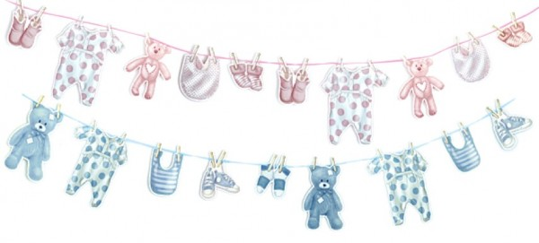 Girlanden Baby blau & rosa