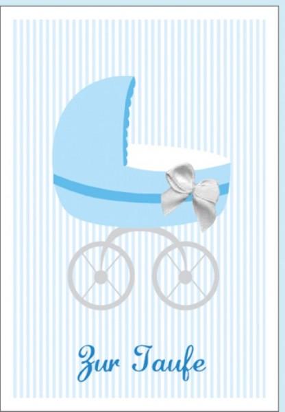 Umschlagk. Taufe Kinderwagen blau
