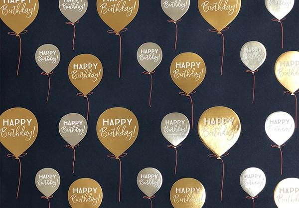 Geschenkpapier H.B. Luftballon mit Silber/Gold Folienprägung