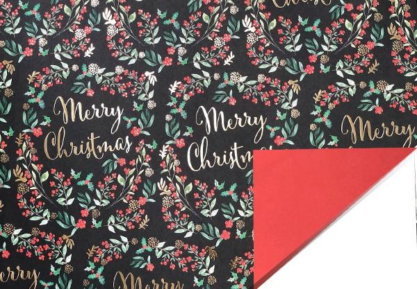 Geschenkpapier Merry Christmas Kranz mit Goldfolie