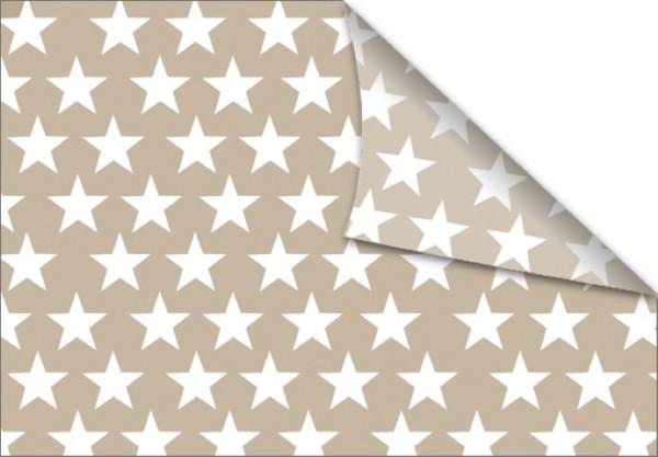 Sterne weiß-beige 50x70