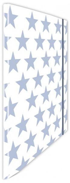 Eckspannmappe Sterne h.-blau-weiß