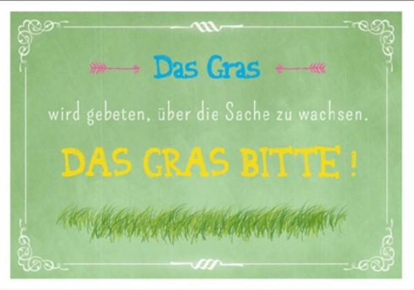 Postk. Vintage Das Gras bitte