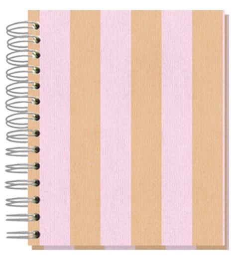 Buch 12x15 Shabby Streifen rosa