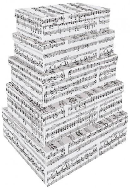 Rechteck Music Sheet Grey 5tlg. groß